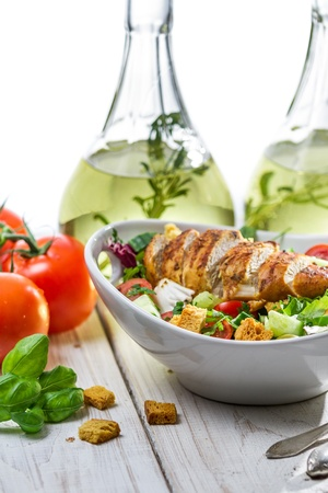 Salad made of chicken, tomato and olive Stock Photo - 19111083