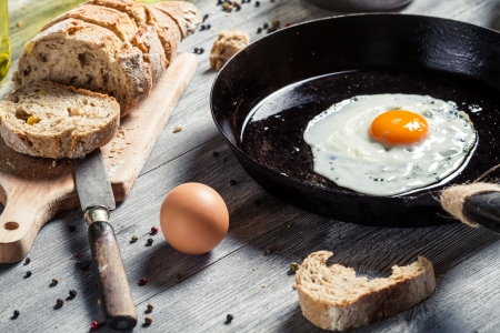 Closeup of homemade bread and fried egg Stock Photo - 19111194