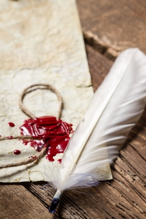 Closeup of a feather and red sealing wax on old wooden table photo