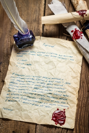beeswaxseals: Old letter written bird pen and sealed sealant Stock Photo