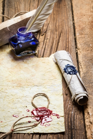 beeswaxseals: Writing a letter in ancient style Stock Photo