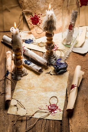 beeswaxseals: Vintage scrolls and candles are the old scribes workplace