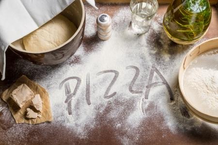 Prepare yeast dough for pizza photo