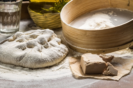 Pizza dough made from yeast and flour