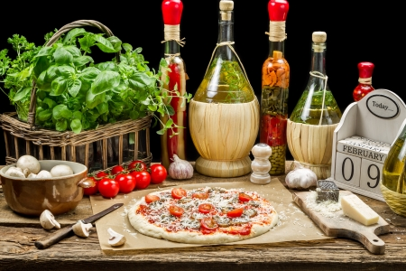 Homemade pizza with fresh ingredients photo