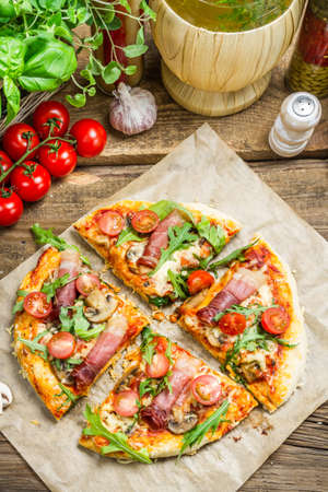 Baked pizza with fresh vegetables photo