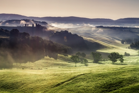 san quirico d'orcia: Misty hills and meadows in Tuscany at sunrise