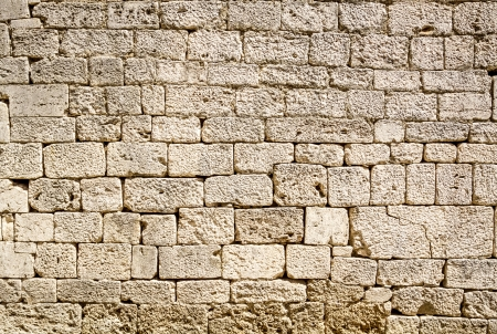 feature wall: Ancient wall built of white stone