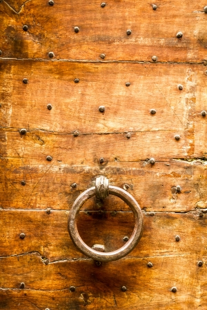 Old wooden door with knocker photo