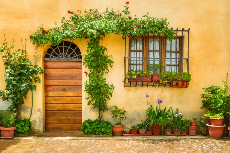 Beautiful porch decorated with flowers in italy Stok Fotoğraf