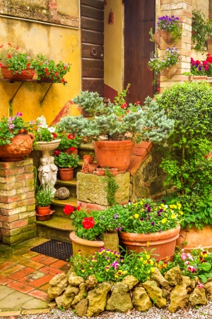 Beautiful porch decorated with flowers in the countryside, Italy photo