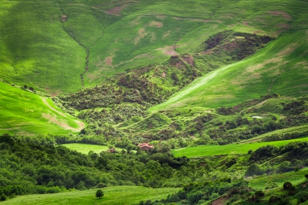 Green valley in the mountains of Tuscany photo