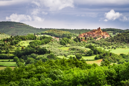 Small town on a hill in Tuscany photo