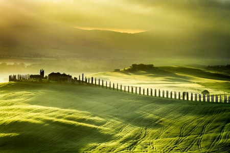 orcia: Sunrise at  San Quirico d Orcia