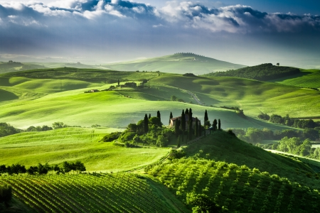 Beautiful sunrise in the valley of  San Quirico d Orcia