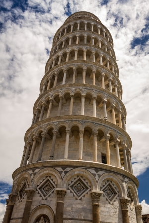 Bottom view of the Leaning Tower of Pisa photo