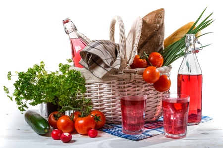 Picnic basket with vegetables photo