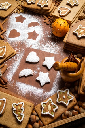 Homemade decorating gingerbread cookies photo