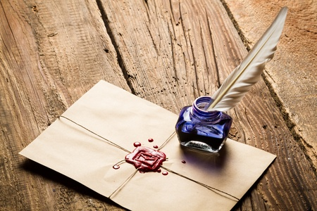 beeswaxseals: Blue ink inkwell and envelope with red sealant