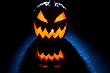 jack o latern: Pumpkin lit for halloween celebration Stock Photo
