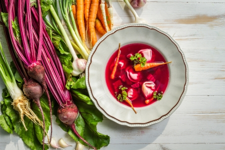 Fresh beetroot soup made ​​of vegetables photo