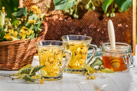 Tea with lime and honey served in the garden Stock Photo - 21355490