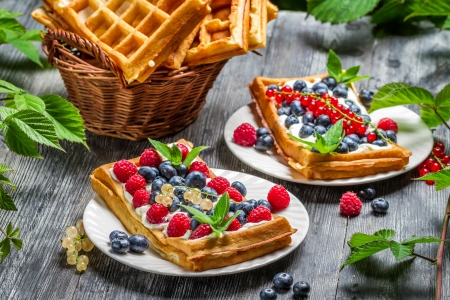 Fresh berry fruit on waffels photo