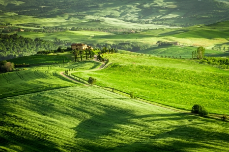 Green fields and meadows with agrotourism in Italy photo
