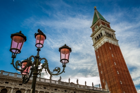 st mark's square: Bell tower and street lamp on St. Marks Square, Venice