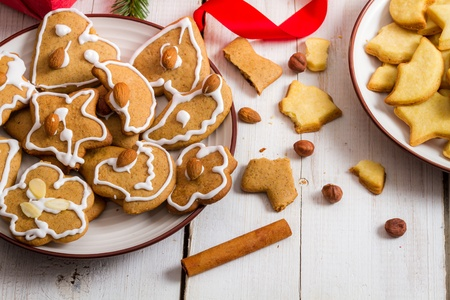 snacking: Snacking Christmas cookies on a plate