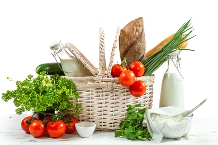 Basket full of healthy products photo
