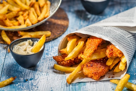 cooking oil: Closeup of homemade Fish   Chips Stock Photo
