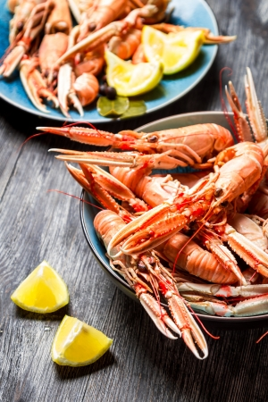 scampi: Fresh scampi served with lemon Stock Photo