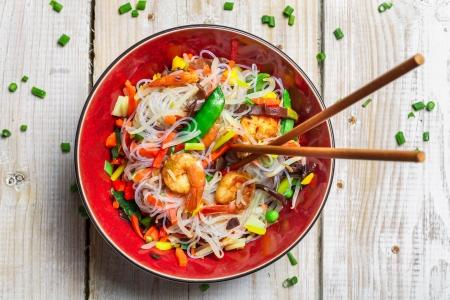 Chinesische Gemüse-Mix mit Garnelen Lizenzfreie Bilder