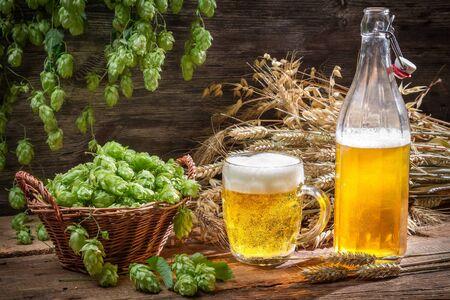Fresh homemade beer made of hops Stock Photo - 22171782