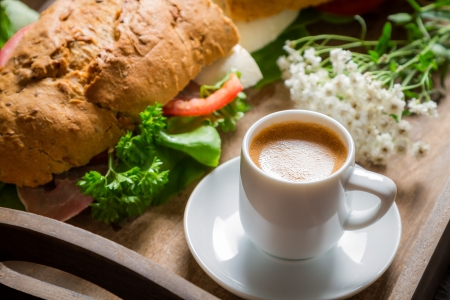 Breakfast with espresso and sandwich Stock Photo - 22171836