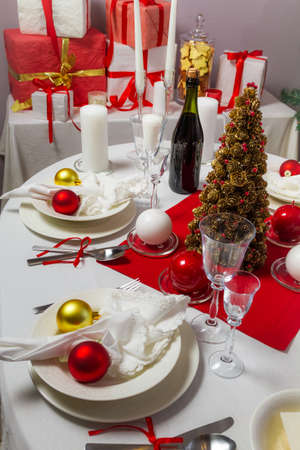 Richly set the Christmas table photo