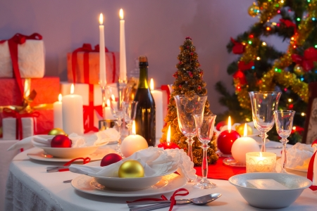 Beautifully set table for Christmas Eve