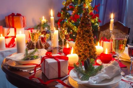 cena navide�a: Es tiempo para la cena de Navidad Foto de archivo