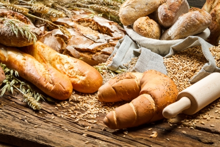 Rural baker pantry with all kinds of breads photo