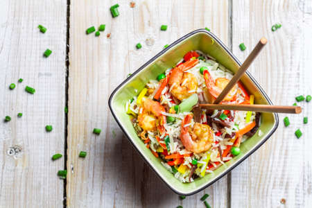 Mix vegetables with rice and shrimp photo