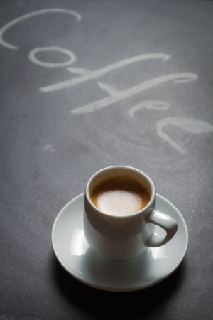 Blacckboard with the words coffee and espresso photo