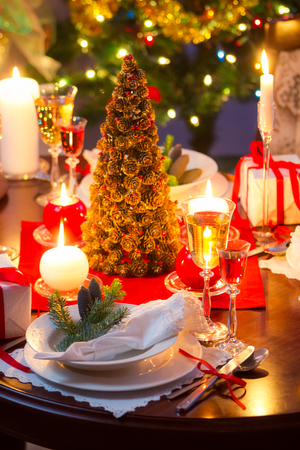 candle light table setting: Special dinner for Christmas Eve