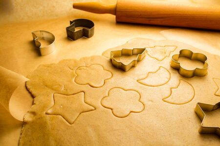 Prepare baking Christmas cookies made from gingerbread photo