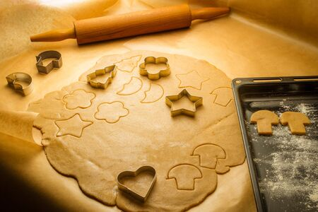 Prepare baking Christmas cookies in Kitchen photo
