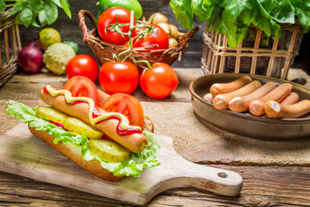 Homemade hot dog with fresh vegetables photo