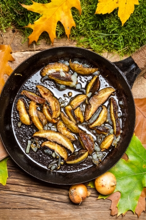 Fresh onions and mushrooms in a pan photo