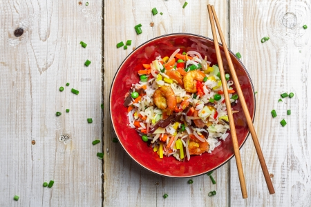 Chinese mix vegetables and rice photo