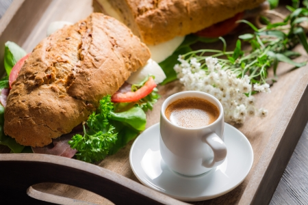 Italian breakfast with espresso and sandwich photo