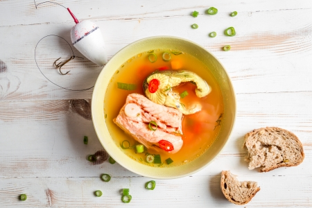 Spicy fish soup based on salmon photo